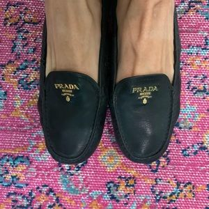 Prada top logo plaque loafers
